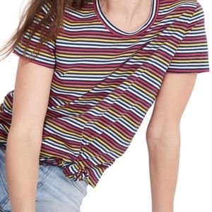 Madewell Rainbow Stripe Knot Front Tee NWT M